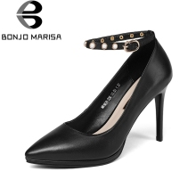 BONJOMARISA 2018 Spring Autumn Black Cow Leather Women Ankle Strap Pumps Beading Super High Thin Heels
