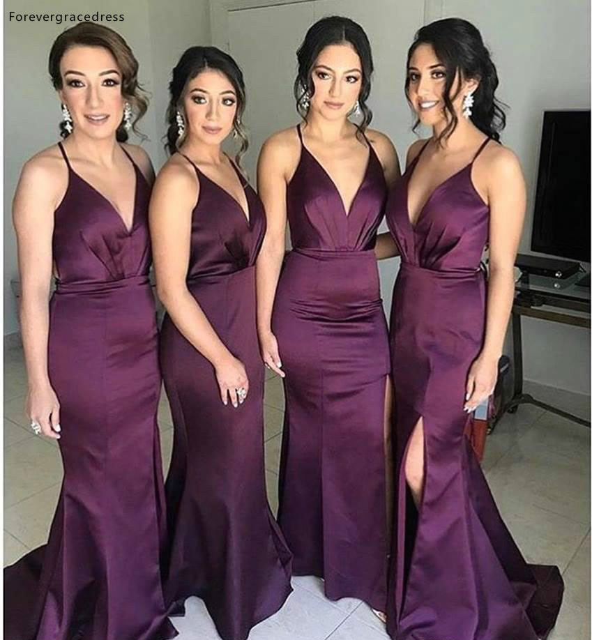 Dark Purple Long Bridesmaid Dress Deep V Neck Summer Country Garden Formal Wedding Party Guest Maid Of Honor Gown Plus Size