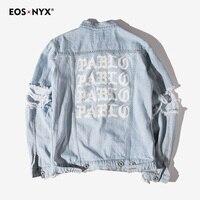 Eosnyx Kanye West чувствую, что Пабло джинсовая куртка Для мужчин; рваные джинсовые куртки jaqueta masculina Повседневное пальто