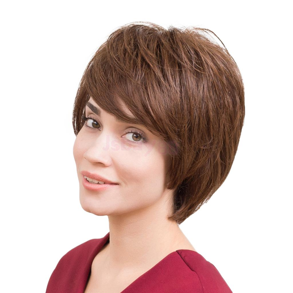 цена Natural Human Hair Wig Short Straight Wigs Brown For Women Fashion Layered Pixie Cut Layered Full Wigs with Bangs