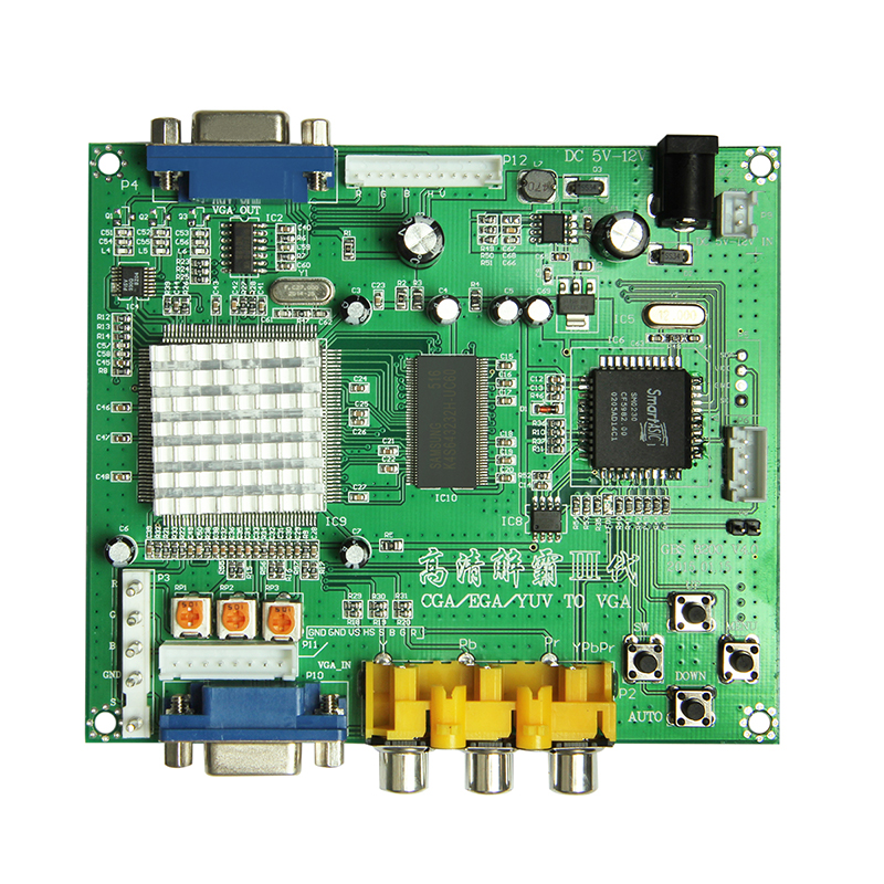 For CGA EGA RGB to VGA GAME video converter board 1 VGA output game convert GBS8200 zap zap xvag mda rgb cga ypbpr 9pin to vga industrial monitor converter