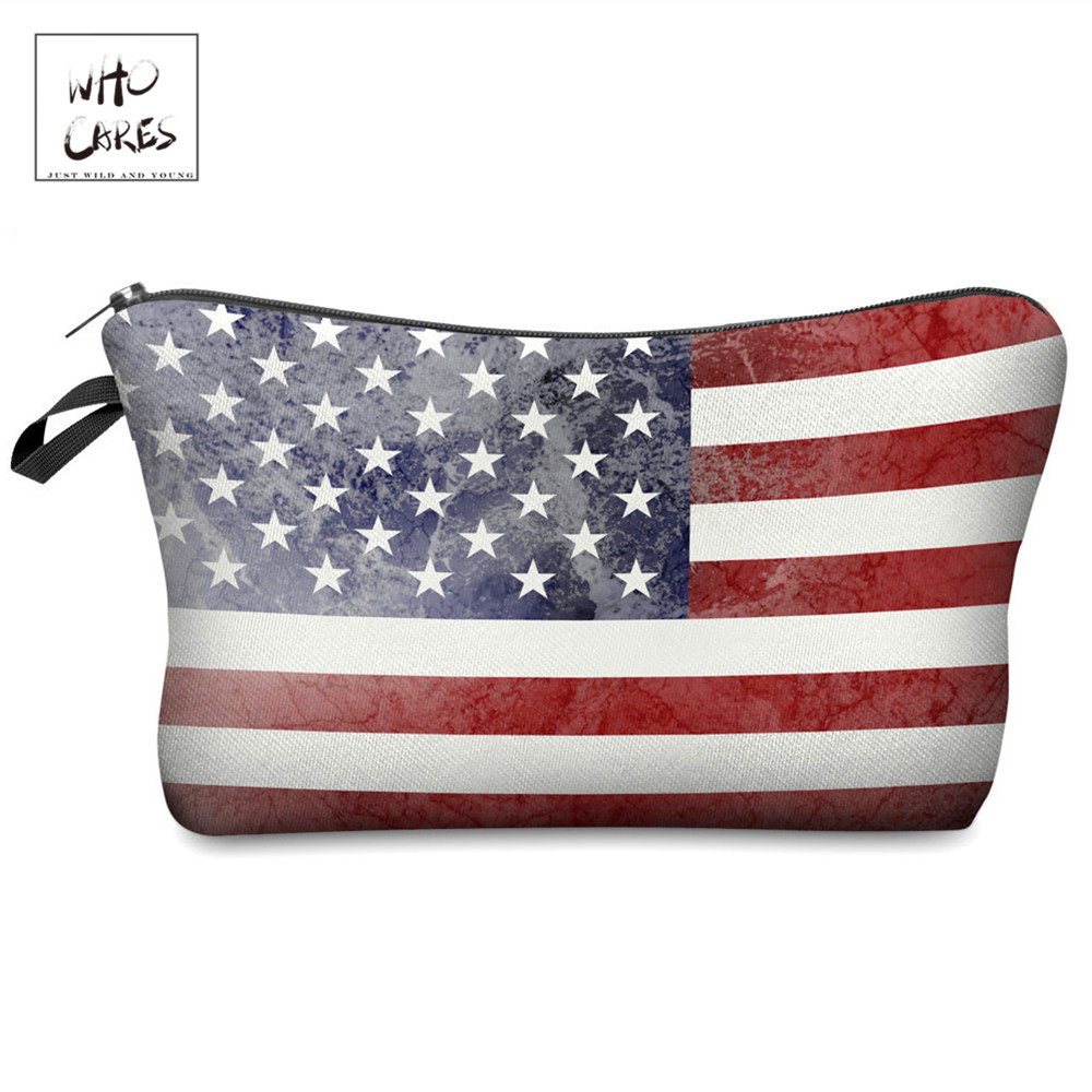 Who Cares Fashion Printing US Makeup Bags Cosmetic Organizer Bag Pouchs For Travel Lady Pouch Women Cosmetic Bag