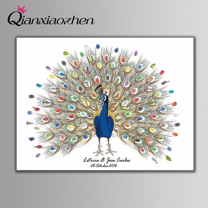 Qianxiaozhen персонализированные павлина отпечатков пальцев Свадебный Гостевая книга Свадебные украшения gastenboek арбол де huellas Para BODA