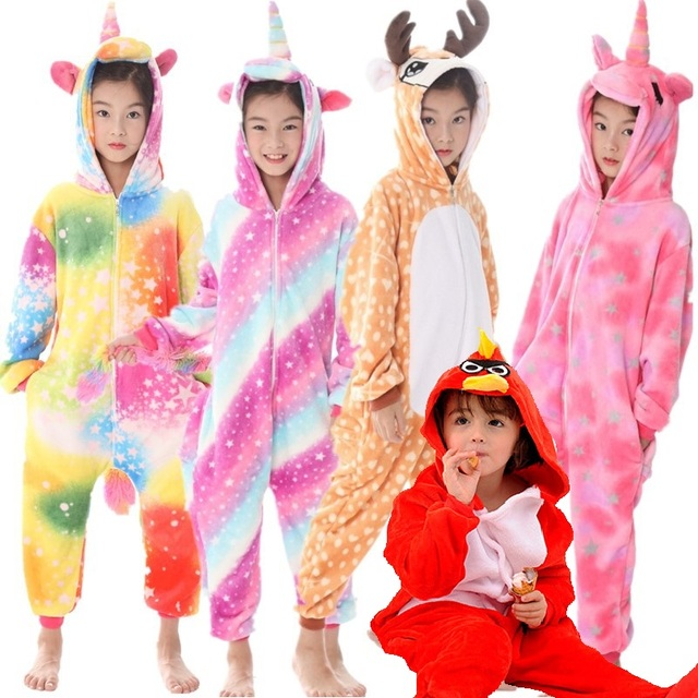 08c2f4704 Pink Unicorn Girls Boys Pajamas Sets Stitch Panda Baby Onesie Sleepwear  Cosplay Animal Onesies for Kids Comic Hooded Pajamas