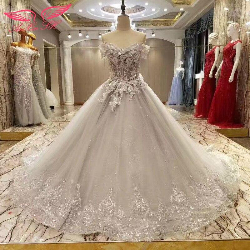 AnXin SH Princess flower beading grey lace wedding Dress flower ...