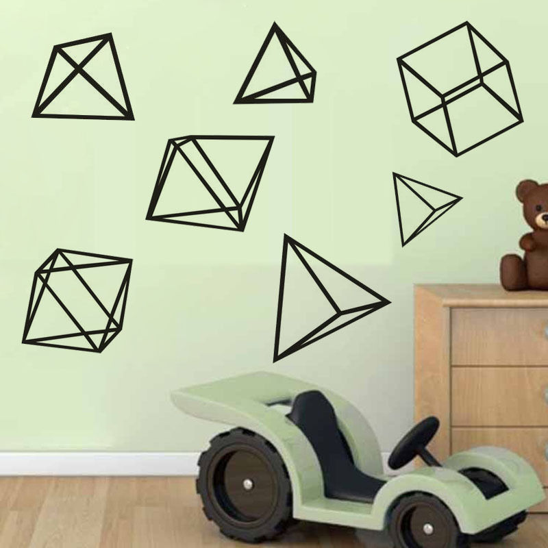 Sets of geometric figure wall stickers home kids room for Figure 8 mural