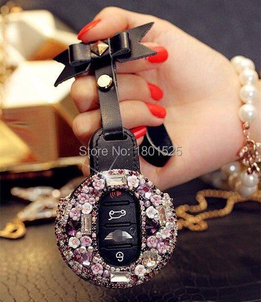 Female Remote Car Key Fob Cover Abs Diamond Case Holder For Mini