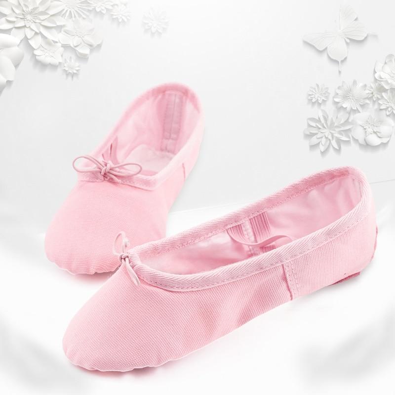 a0e04ed09 Wholesale 5 Pairs Girls Ballet Dance Shoes Full Cotton Canvas Split ...