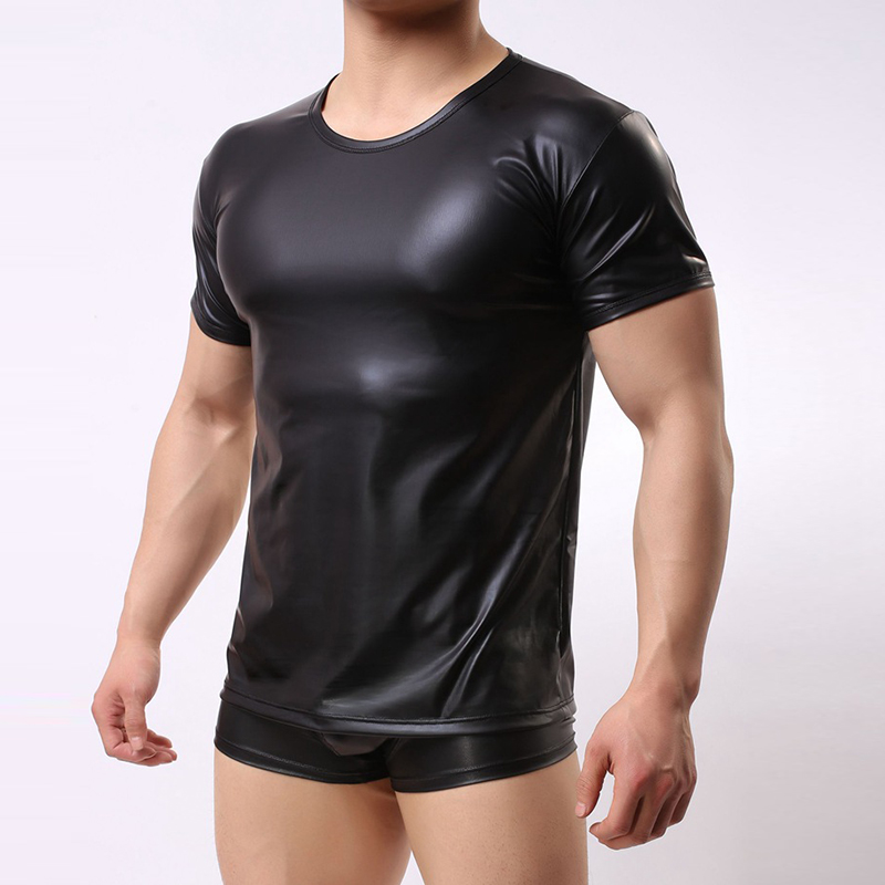 Erotic Lingerie For Men Patent Leather O Neck Tops BDSM Tanks Fitness Undershirts Men's Underwear Nightclub Clubwear PY1
