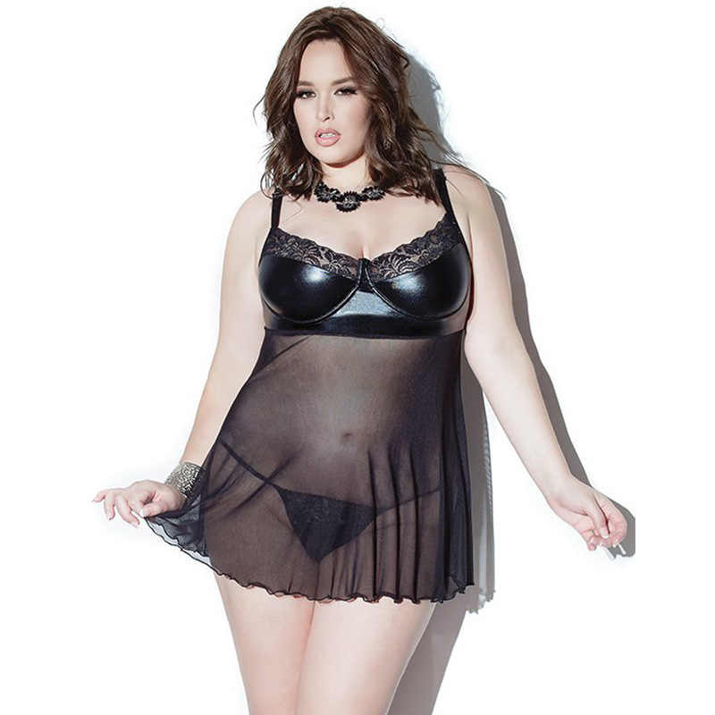 e8a0d3fc5664b Plus Size 3XL 5XL 7XL Charming Black Faux Leather Slips Sheer Mesh Splicing  Nihtdress Sexy Femal