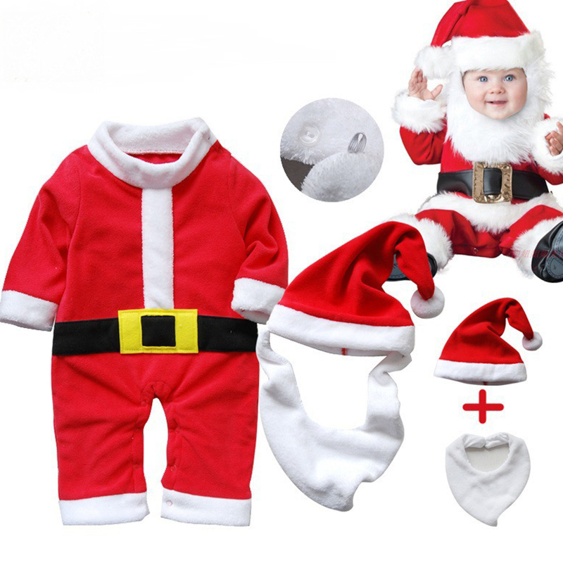 Newborn Boy Christmas Costume Cosplay Santa Claus Girl Infant Clothing Baby Gift Set Hooded Thicken Baby Bodysuit Winter 2 Years santa claus mascot costume christmas cosplay mascot costume free shipping