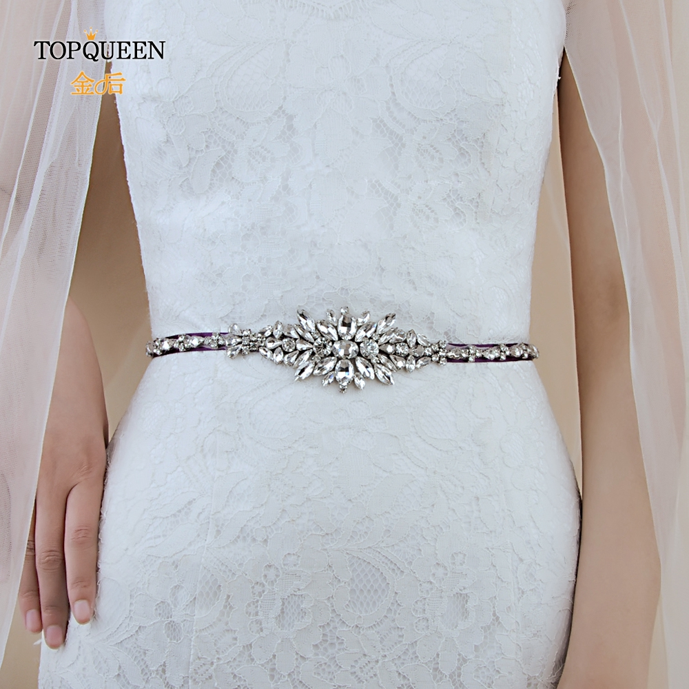 TOPQUEEN S352 Bridal Belt Wedding Belt Crystal Rhinestone Bridal Sash Wedding Dress Accessories Wedding Gown Sash 1CM