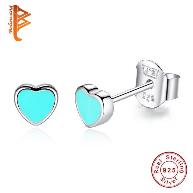 Popular Cute Blue Enamel Heart Push-back Stud Earrings for Women Girls Sterling-Silver-Jewelry Earring