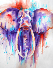 Watercolor Style 5D DIY Diamond Painting Elephant Full Square  Embroidery Mosaic Picture of Rhinestones