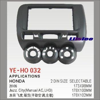 2 Fascia de panneau de cadre d'abs de DIN pour l'installation de GPS Navi de lecteur de DVD de Radio stéréo de voiture du marché secondaire 2006 de Honda Jazz City