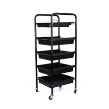 5 Tier Spa Hairdresser Coloring Hair Black Salon Trolley Rolling Storage Cart Tool Accessory(China)