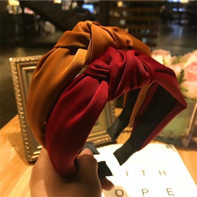 Haimeikang однотонные волосы вязаная повязка на голову для женщин повязки для волос Головные уборы 2018 новое поступление