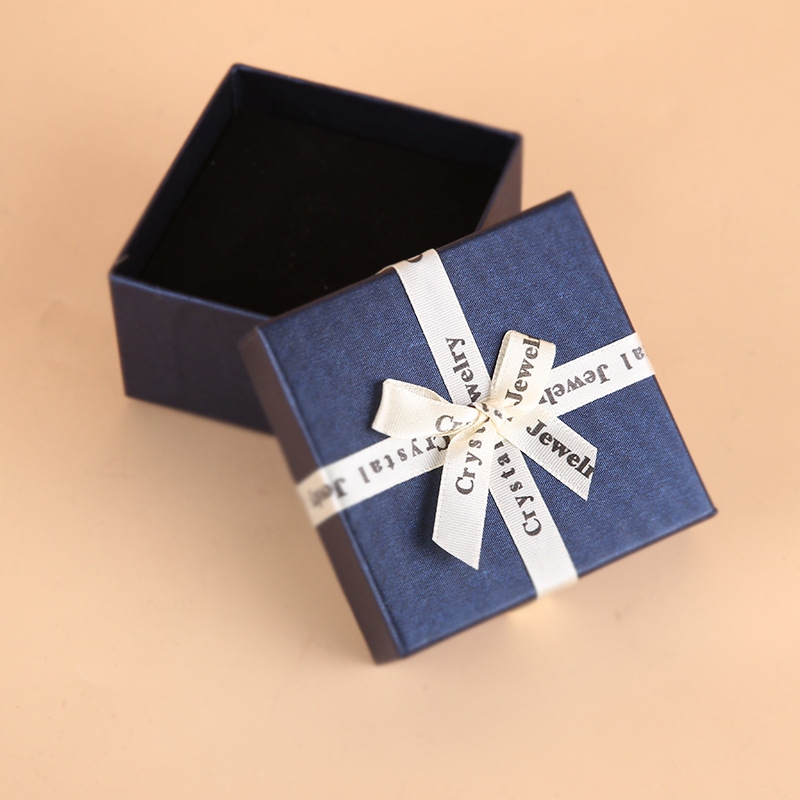 DoreenBeads Deep Blue Color Jewelry Box White Ribbon Bowknot Jewelry Packing Display Paper Gift Boxes 8x8x5cm Wholesale 1 Piece