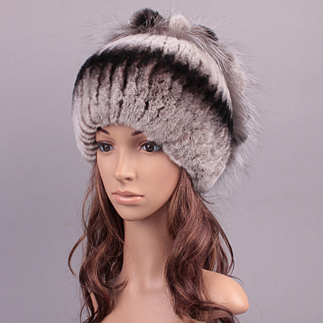 Winter Hat For Women New Real Fur Cute Design Hat Girl Beanie Lovely Cap 2016 Knitted Rex Rabbit Fur Fashion Floral Russian Hat