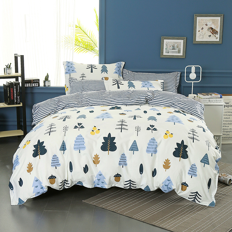 Wongsbedding 100% Cotton Tree Duvet Cover Sets Plant Bedding Set Twin Full Queen King Size 3/4PCS Sheet Beddings-in Bedding Sets from Home & Garden