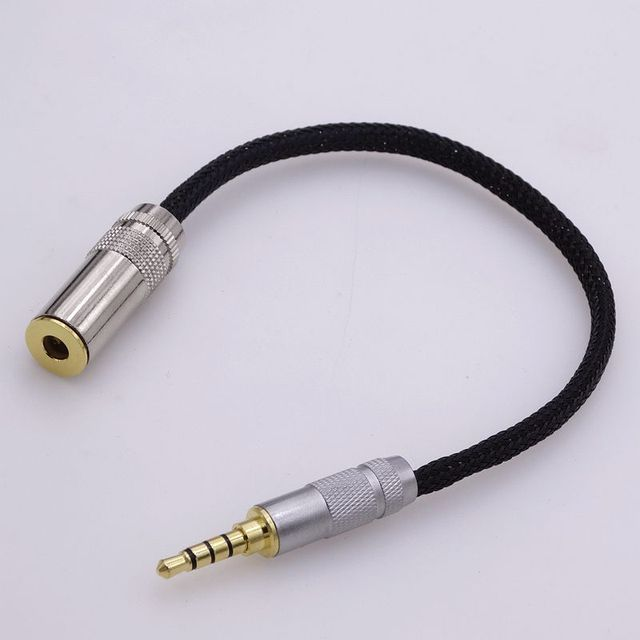10cm hi-end 4 core copper wires 3 5mm trrs to 4 4mm female audio adapter  for sony headphone cable