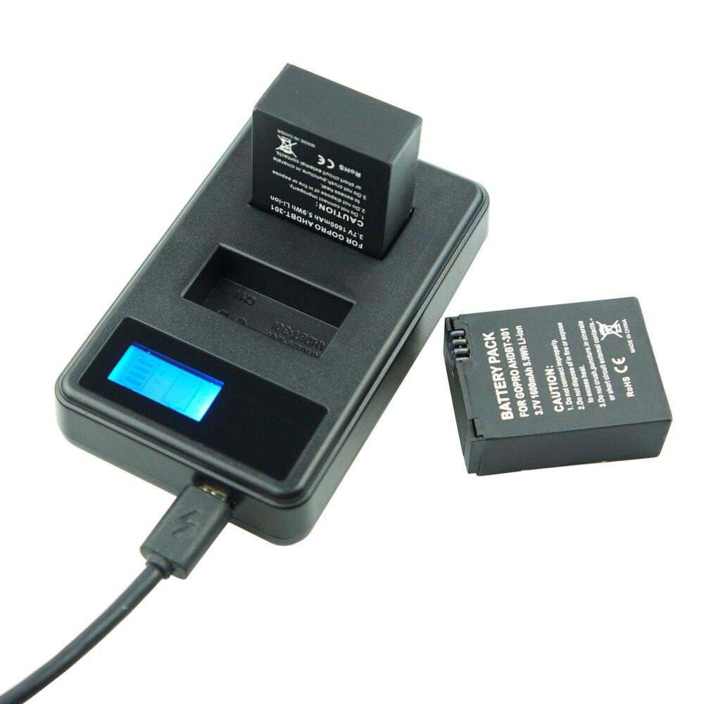 Купить с кэшбэком 3X 1600mAh Bateria AHDBT-301 Go Pro Hero 3 3+  go pro 3 battery + Dual charger for Gopro hero3 Hero3+ Action camera accessories