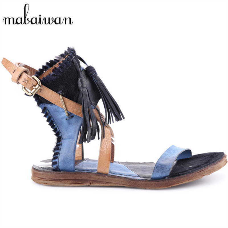 Fashion Blue Women Genuine Leather Tassels Summer Sandals Casual Flat Shoes Woman Fringed Gladiator Sandal Flats Valentine Shoes choudory bohemia women genuine leather summer sandals casual platform wedge shoes woman fringed gladiator sandal creepers wedges