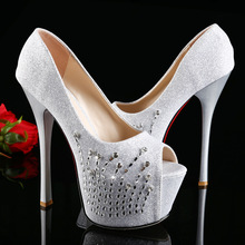 2016 Women Stiletto Peep Toe Fancy Shiny Luxury Rhinestone Ladies Shoes High Thin Heel Nightclub Leisure Women Shoes Pumps