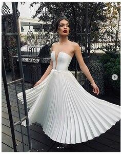 Image 2 - Verngo בציר קצר חתונה שמלת חתונה בקיץ פשוט שמלות תפור לפי מידה קלאסי לבן כלה שמלת Vestido Novia