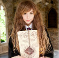 FRETE GRÁTIS> **** ^ ^ Harry Potter Hermione Granger Milho Quente Longo Castanho Ondulado Cosplay Peruca E-mail @ @ quente resistente ao calor Partido cabelo fa