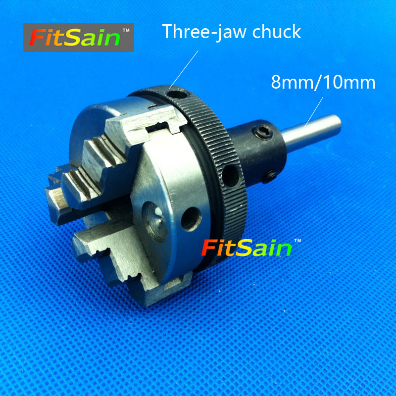 FitSain-Three jaw chuck D=50mm CNC mini SELF-CENTING maiually operated chuck Bench Lathe part shaft diameter 8mm/10mm easy operation 600 900 mm mini cnc lathe
