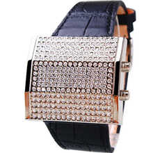 Hk Brand GUOU Genuine Leather Square full high grade diamond Luxury Woman watches factory direct LED