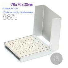 Soporte para fresas Dental cepillo de pulido Autoclavable bloque de la taza 86 agujero 1 pieza de COLOR plateado