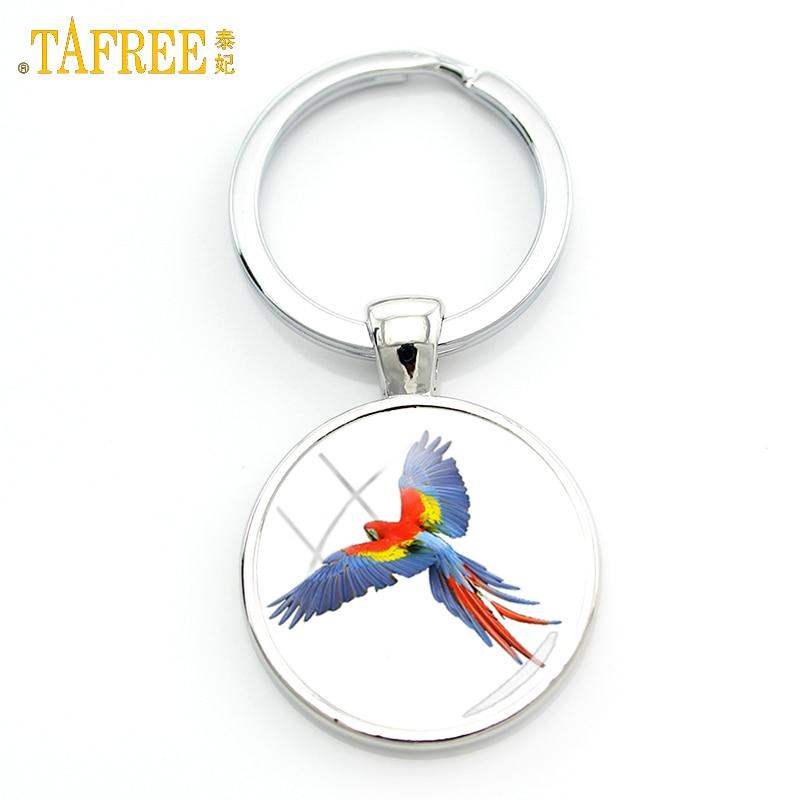 TAFREE 2017 new love birds jewelry keychain for men women gifts beautiful color lovely bird pendant key chain ring holder J568
