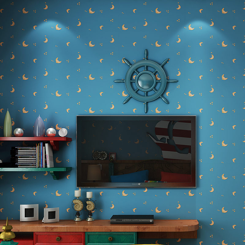 Childrens Room Non-woven Wallpaper For Kids Room Moon And The Stars Blue Boys Girls Bedroom Wall Decoration Wallpaper Roll 3DChildrens Room Non-woven Wallpaper For Kids Room Moon And The Stars Blue Boys Girls Bedroom Wall Decoration Wallpaper Roll 3D