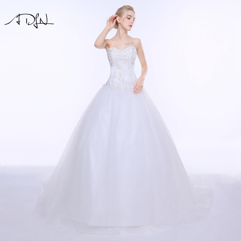 ADLN billig brudekjole med applikasjoner Vestido De Noiva A-linje Hvit / Ivory Puffy Tulle Lace-up Brudekjole Plus Størrelse 2019