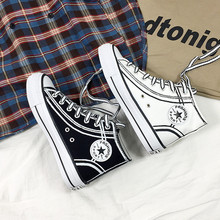 High-top Graffiti Canvas Shoes Female White 2019 Students Flat  Sneakers Women