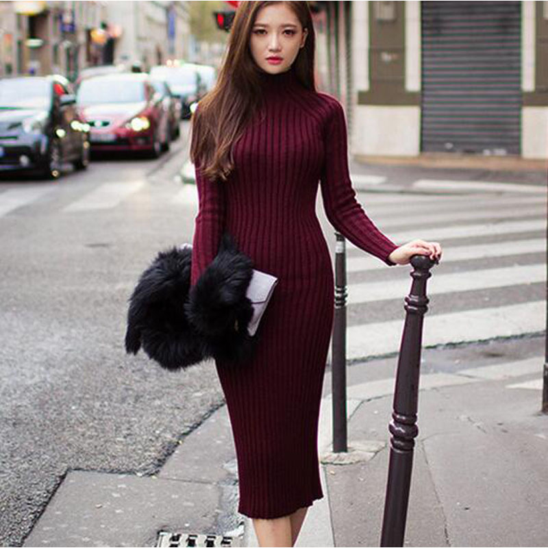 Knit Sweater Dress 2017 Autumn Winter Women Long-sleeved High-necked Slim Sexy Flexible Bandage Knitted Long Dresses JQ1193 1