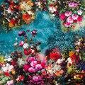 100% Mujeres Bufanda de Seda Bufanda Foulard Pañuelo Bandana 2017 Floral Flor Bufanda de Seda Pequeña Bufanda de Seda Cuadrada de Lujo Regalo de La Señora