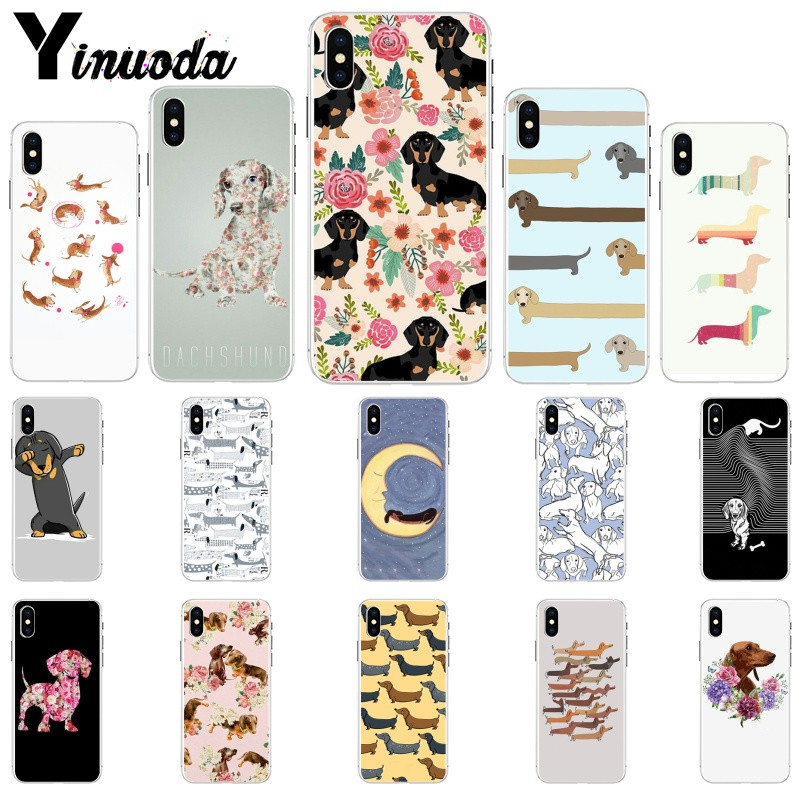 Yinuoda Animals Dogs Dachshund Soft TPU Phone Case for Apple iPhone 8 7 6 6S Plus X XS MAX 5 5S SE XR Mobile Cover