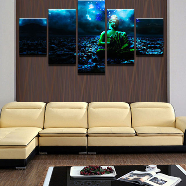 5 Panels Modern Wall Group Buddha Poster Pictures Home Decorative ...