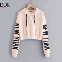 DIDK Drop Shoulder Letter Print Sleeve Hoodie Women Pink Long Sleeve Sporting Pullovers Sweatshirt 2017 Casual