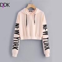 DIDK Drop Shoulder Letter Print Sleeve Hoodie Women Pink Long Sleeve Sporting Pullovers Sweatshirt 2017 Casual