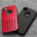 Aluminum Case For iphone 4 4s Luxury Metal and Soft Silicone Mobile Phone Back Cover
