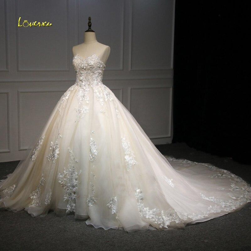 Loverxu Robe De Noiva Robe Boule Chérie Robes De Mariée 2018 Illusion Appliques Perlée Fleurs Tulle Robe De Mariée Plus La Taille