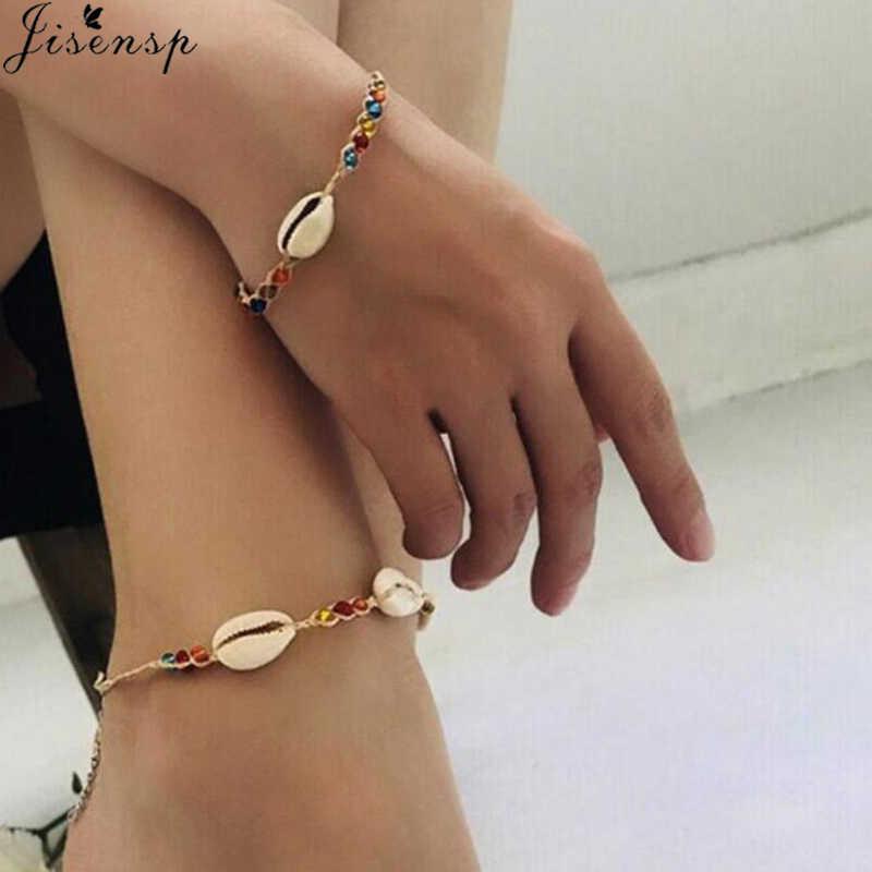 Jisensp Fashion Bohemian Beach Seashell Bead Rope Chain Bracelet Jewelry for Woman Girls Handmade Shell Bracelet Party Gifts