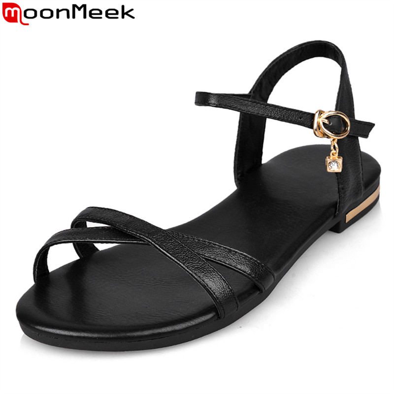 MoonMeek wholesale 2018 Genuine leather women sandals flat high quality summer ladies fashion dress shoes woman white black цены онлайн