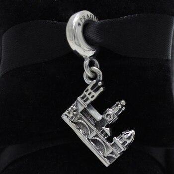 ROCKART 925 пробы Серебряный Карлов мост Серебряный кулон очарование соответствует европейскому оригиналу бренд браслеты и браслет Diy ювелирны...