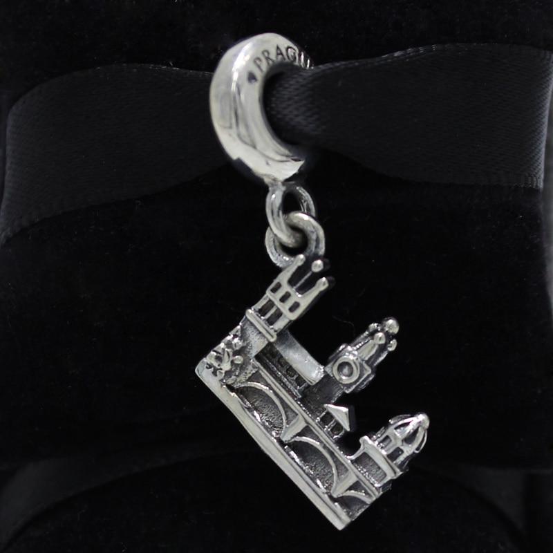 ROCKART 925 Sterling Silver Charles Bridge Silver Pendant Charm Fits European Original Brand Bracelets & Bangle Diy Jewelry