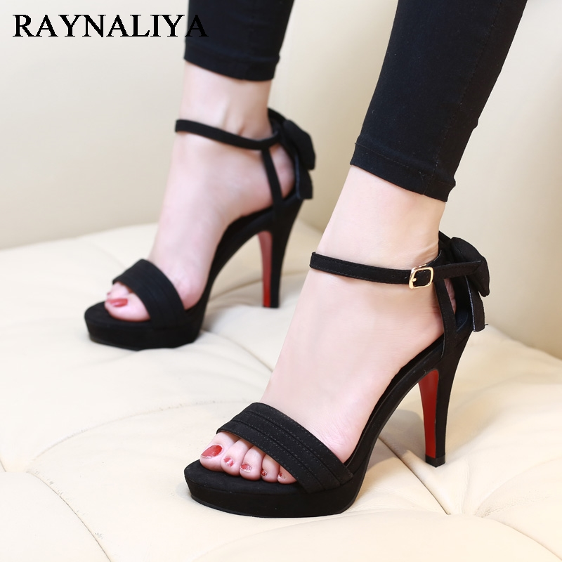 Flock Leather Women Ankle Strap High Heel Sandals Platform Sexy Fashion Party Shoes For Woman Black With 10cm Heels CH-A0060 new fashion silver tone chain trim flat sandals flat heel black white metal leather ankle sandals for women free shipping